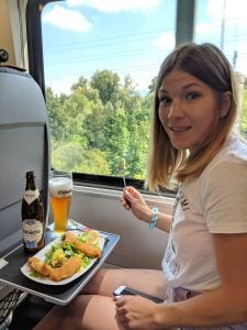Beer and food delivered to your seat on the RailJet train.