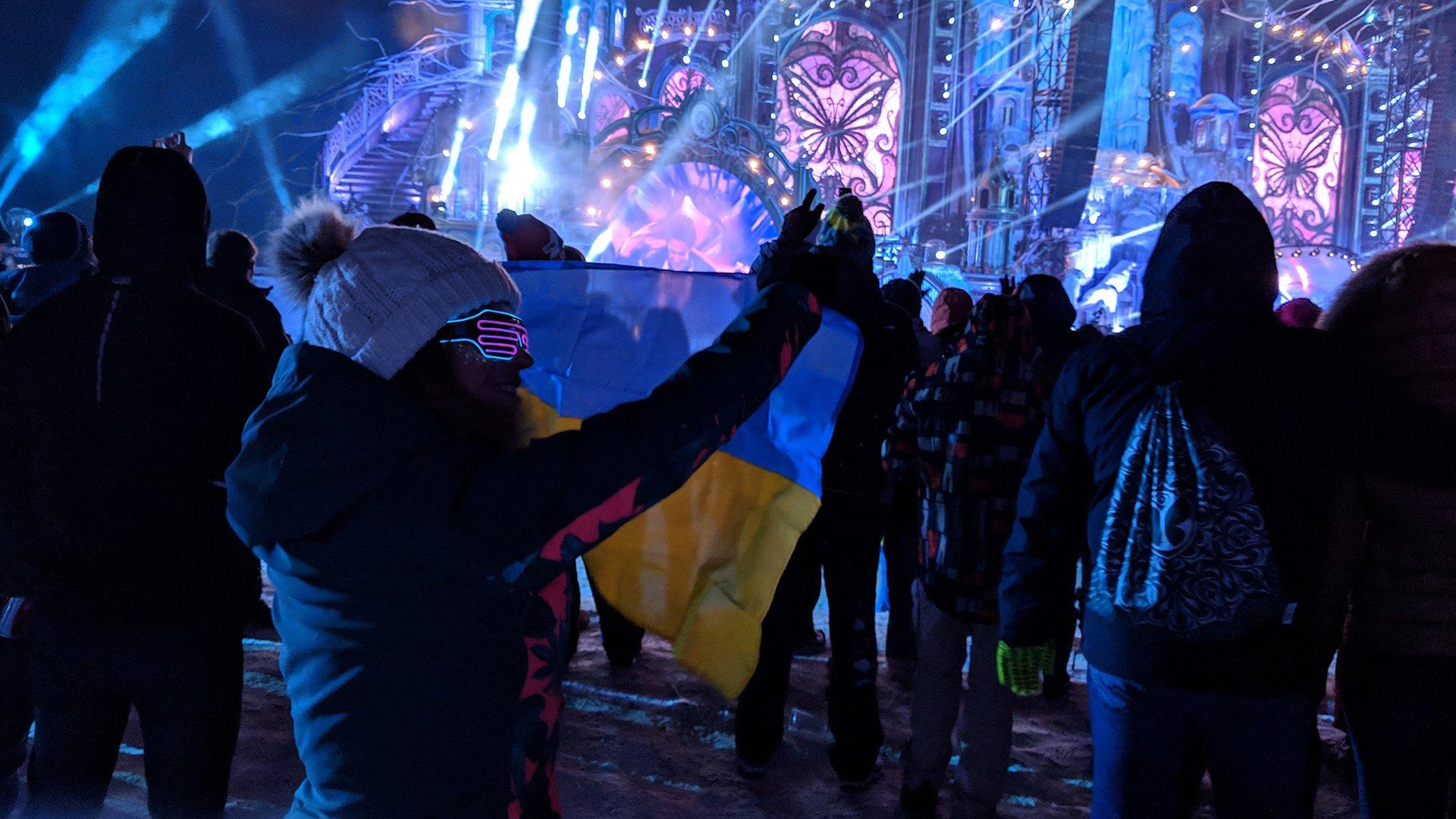 Ukrainian Flag at Tomorrowland Winter