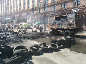 Burnt out tyres, tents and trucks